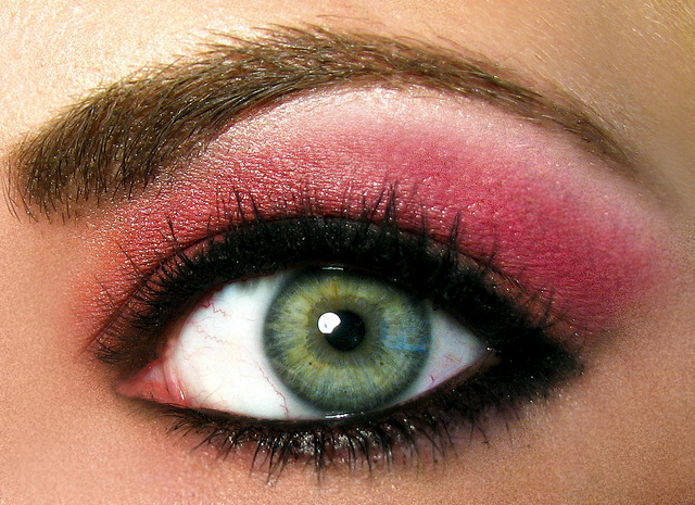 picture :super macro Pink and orange eyeshadow on a green eye by  Courtney Rhodes on Flickr.com